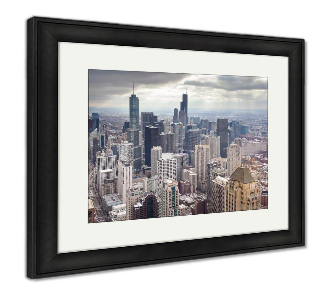 Framed Print, Chicago Skyline On Stormy Winters Day In Illinois USA