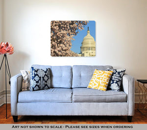 Metal Panel Print, Washington Dc Spring Time Capitol Building Cherry Blossoms