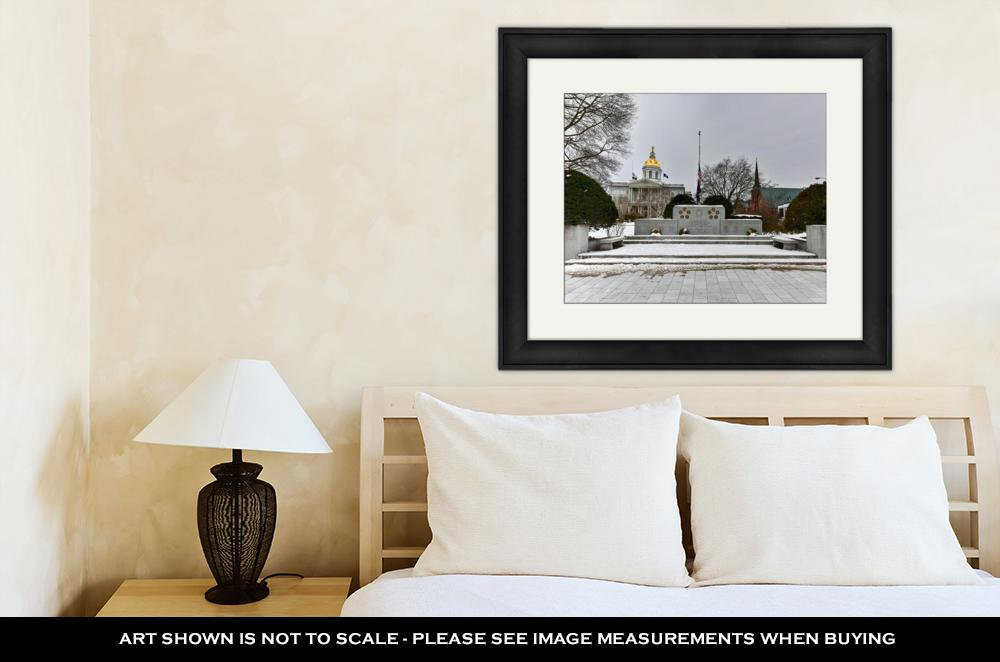 Framed Print, Capitol Building Concord New Hampshire War Memorial