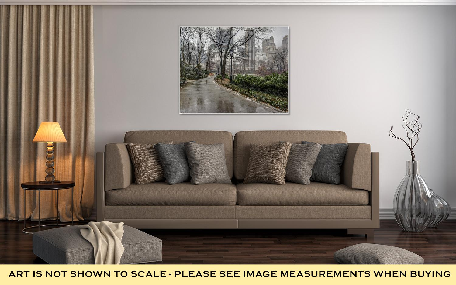 Gallery Wrapped Canvas, Central Park New York City After Rain Storm