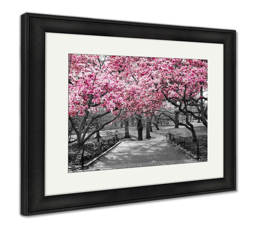 Framed Print, New York City Pink Blossoms In Black And White
