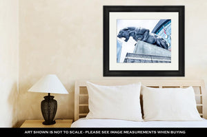 Framed Print, Carolina Panthers Statue Covered In Snow