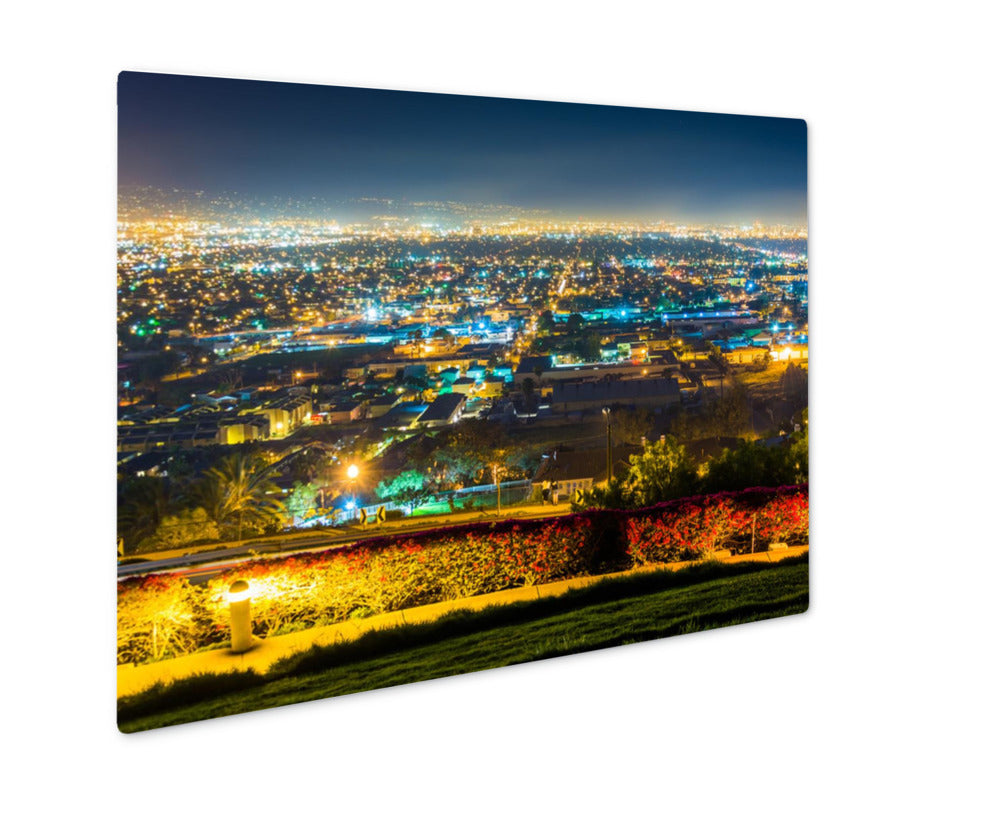 Metal Panel Print, Night on Hilltop Park in Signal Hill Long Beach, CA