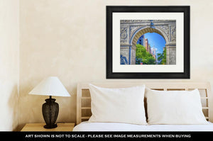 Framed Print, Washington Square Arch And The Empire State Building In The Dist