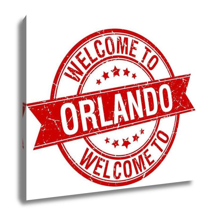 Gallery Wrapped Canvas, Welcome To Orlando Red Round Ribbon Stamp