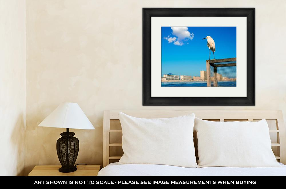 Framed Print, Daytona Beach In Florida Shore From Pier And Sea Bird USA