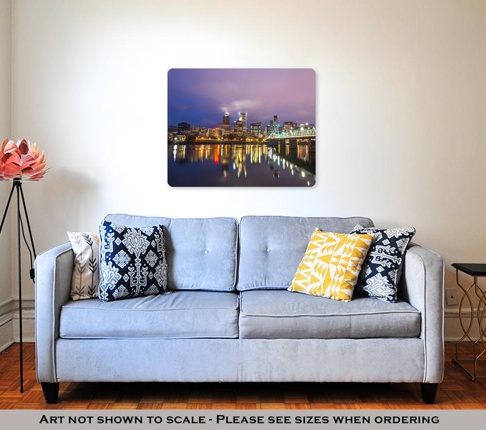 Metal Panel Print, Water With Reflection And Cityscape
