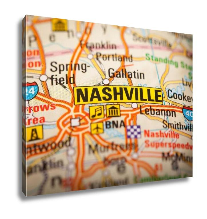 Gallery Wrapped Canvas, Nashville City On A Road Map