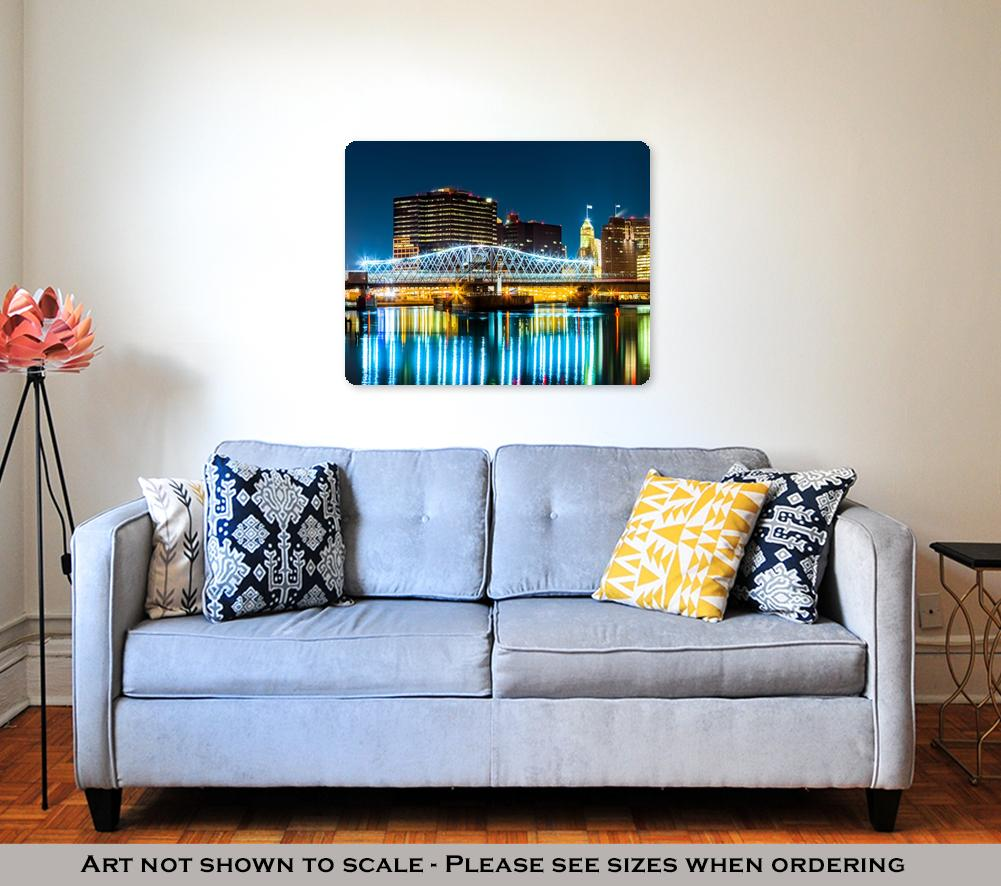 Metal Panel Print, Newark Nj Cityscape By Night
