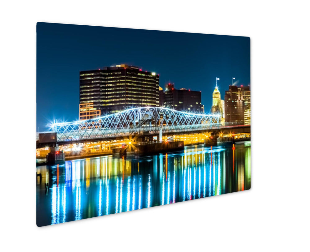 Metal Panel Print, Riverbank Park Passaic River Jackson Street Bridge Newark, NJ