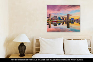 Gallery Wrapped Canvas, Baltimore Maryland Skyline Sunset Reflection