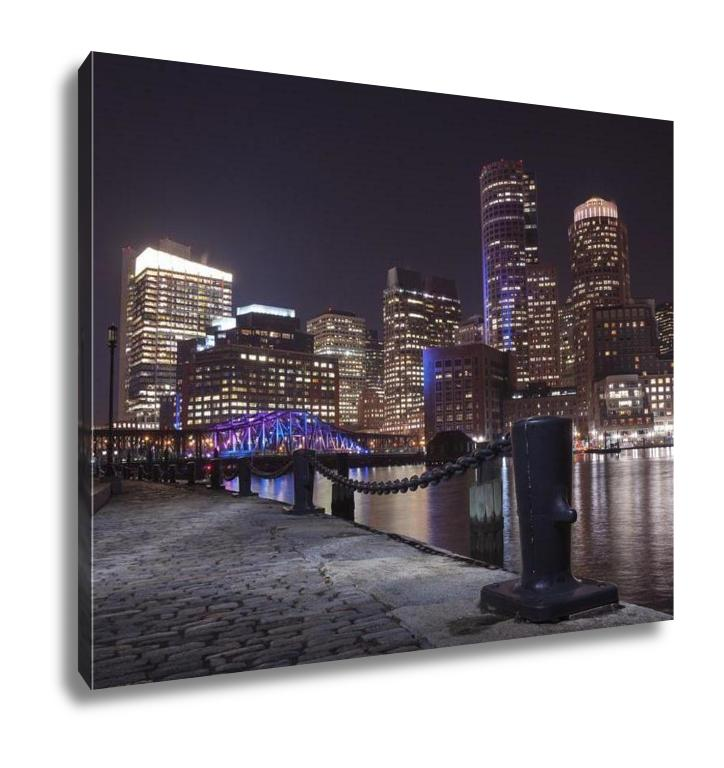 Gallery Wrapped Canvas, Boston Harbor And Financial District At Sunset In Boston Massachusetts