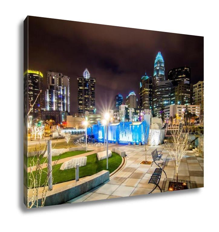 Gallery Wrapped Canvas, Charlotte N.C Skyline Romare Bearden Park
