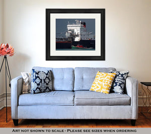 Framed Print, Detroit River Shipping