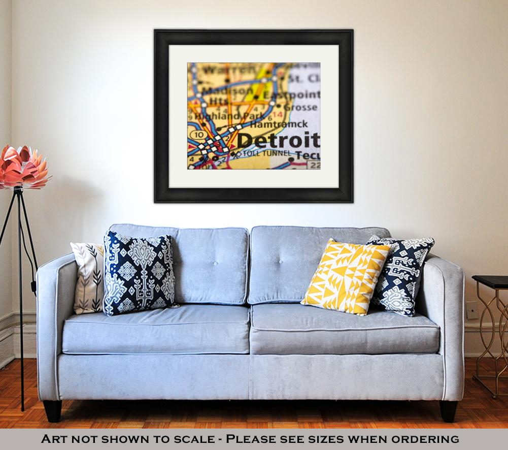 Framed Print, Detroit Michigan On Map