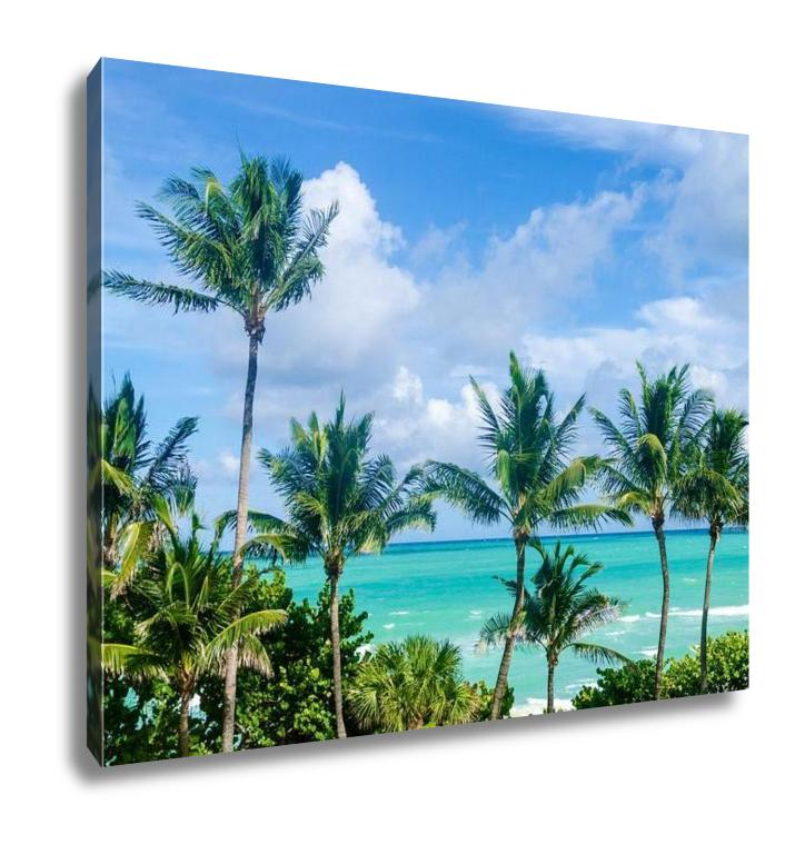 Gallery Wrapped Canvas, Palm Tree On The Miami Beach Florida USA