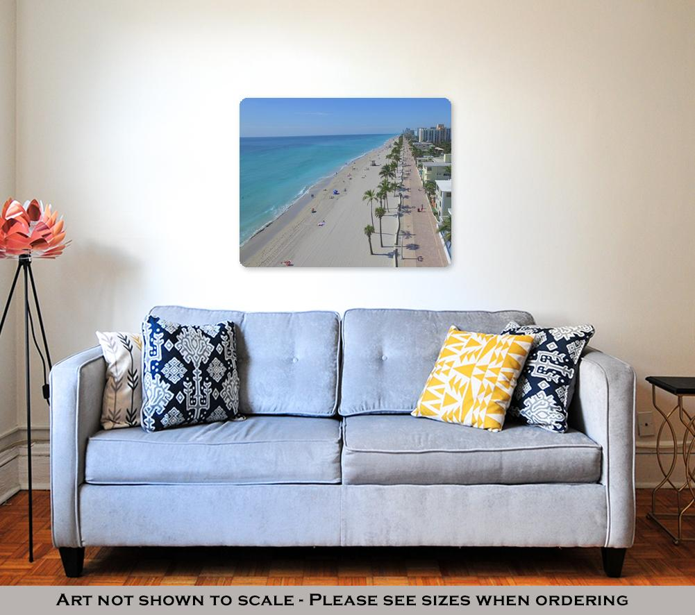 Metal Panel Print, Aerial View Of Hollywood Beach Florida