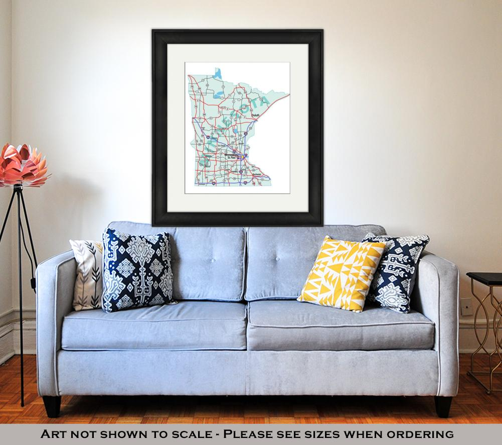 Framed Print, Minnesota State Interstate Map