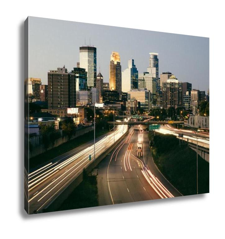 Gallery Wrapped Canvas, Minneapolis Skyline View Downtown