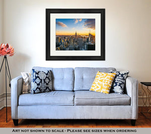 Framed Print, New York City Manhattan Skyline At Sunset View From Top Of The Rock Rockfeller