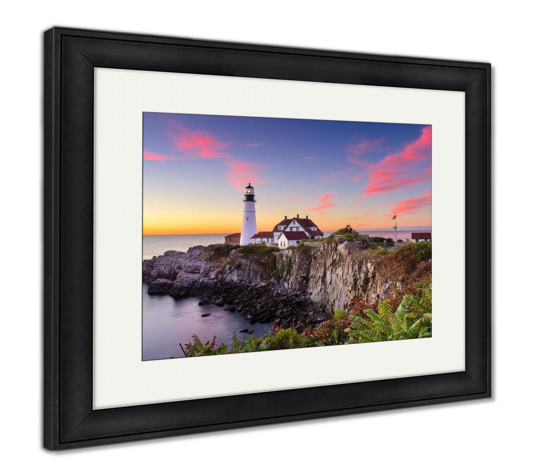 Framed Print, Portland Head Light In Cape Elizabeth Maine USA