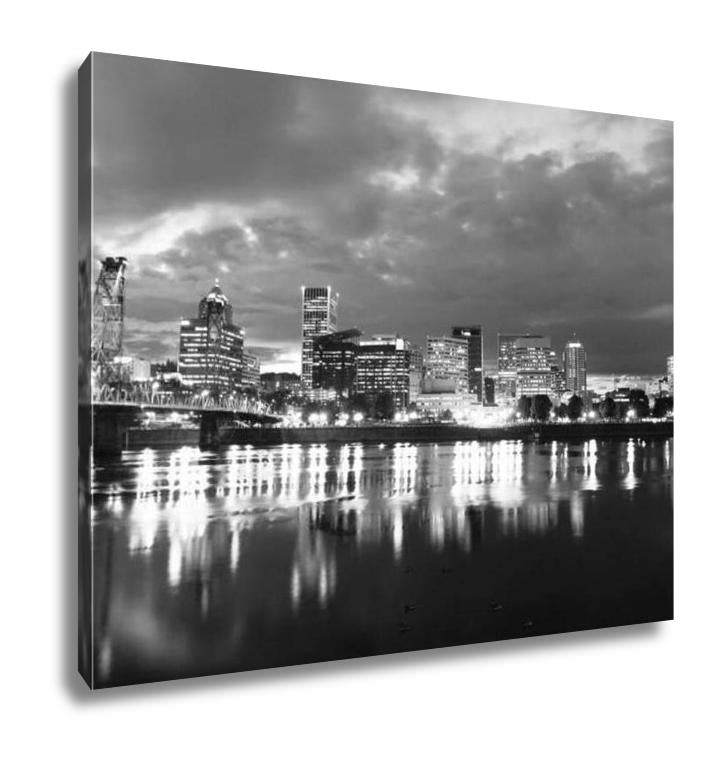 Gallery Wrapped Canvas, Black and White Willamette River Waterfront Portland Downtown City Skyline