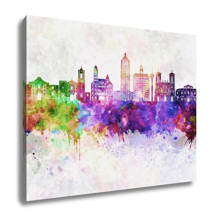 Gallery Wrapped Canvas, San Antonio Skyline In Watercolor