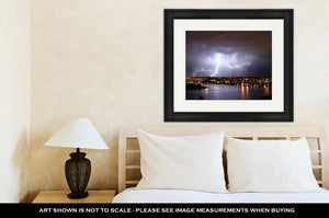 Framed Print, Lightning Over Seattle During A Storm