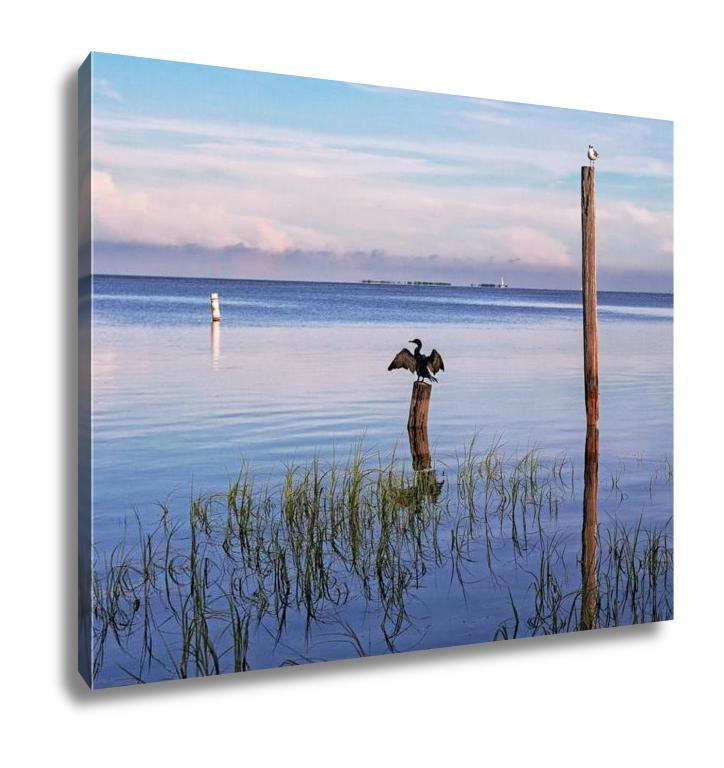 Gallery Wrapped Canvas, Seabirds Birds Sunrise Tampa Bay Florida