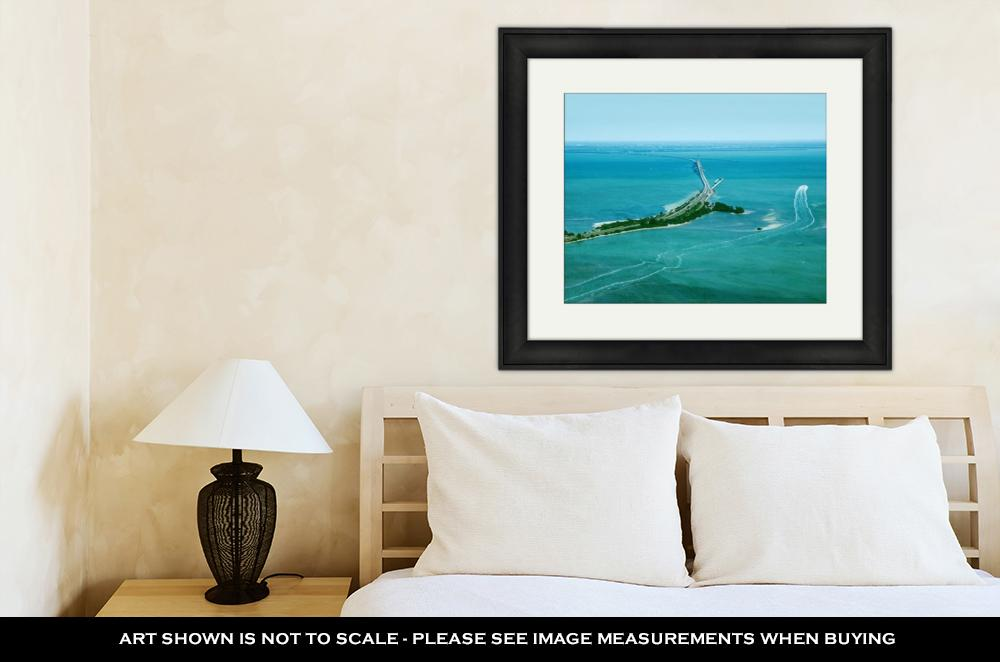 Framed Print, Aerial View On Sunshine Skyway Bridge Close To St Petersburg Florida