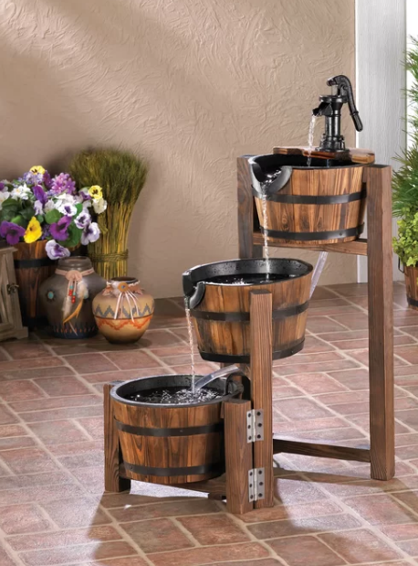 Wood and Iron Fir Apple Barrel Cascading Fountain