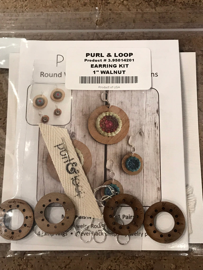 "Purl & Loop DIY Jewelry Round Weaver Earring Kit - 1"" Walnut - Fibre Maven & Va Va Valoom Handwoven"