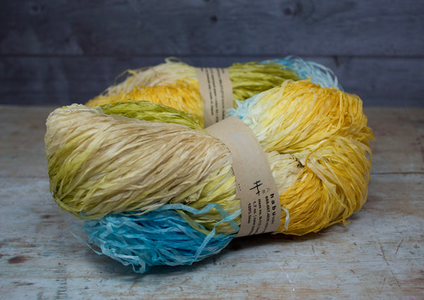Hand Dyed Kasuri Linen Paper - Blue Yellow