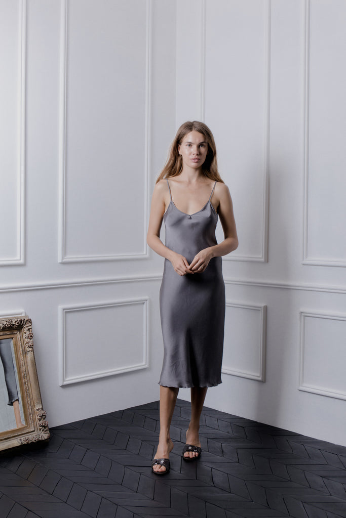 THE GERTRUDE MIDI DRESS - PEWTER