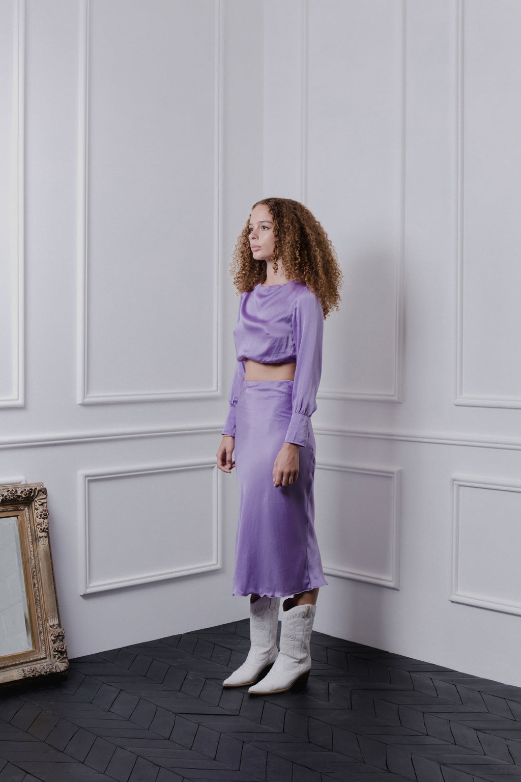 THE GERTRUDE CROPPED BLOUSE - LILAC