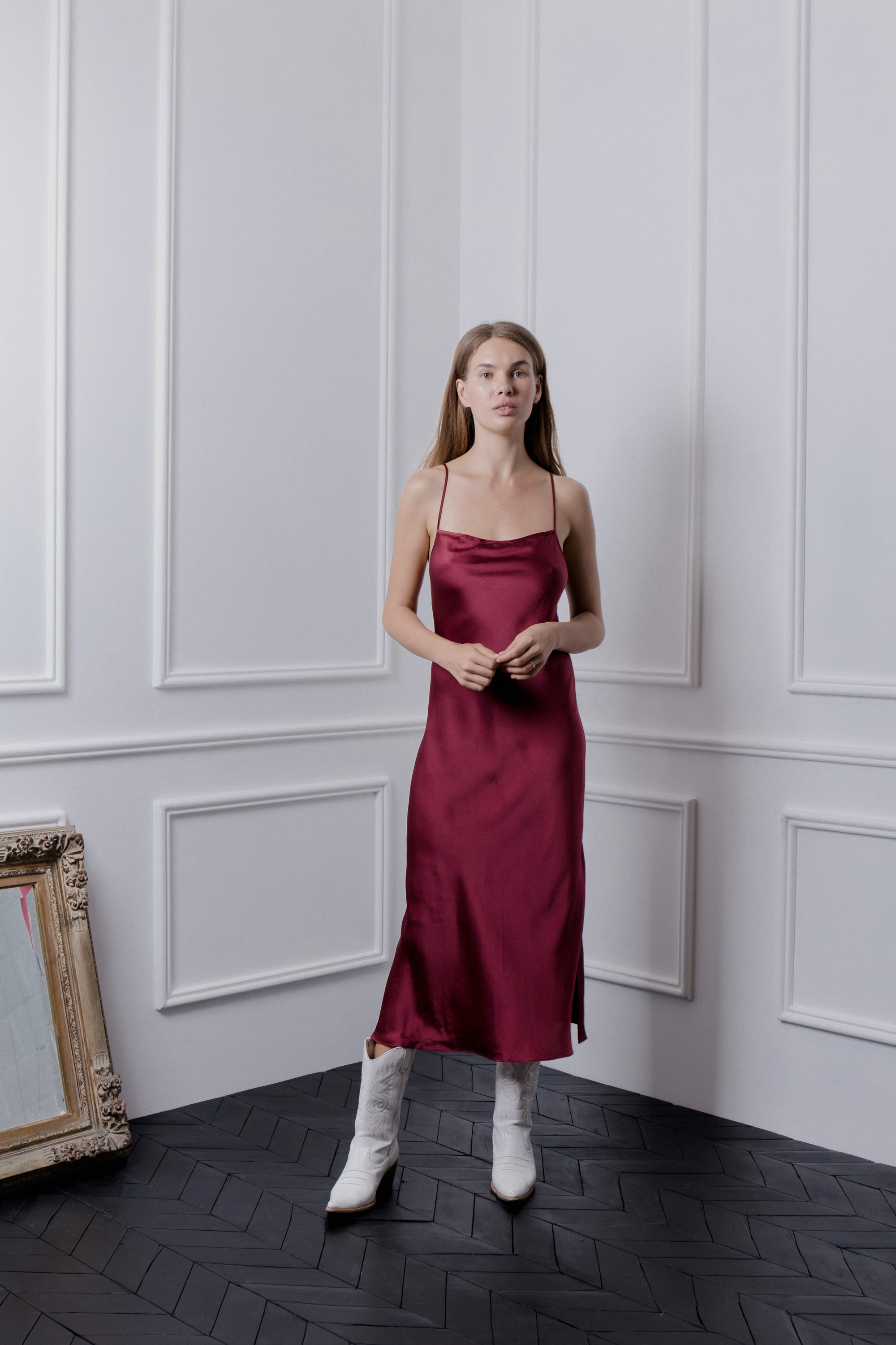 THE GERTRUDE MAXI DRESS - RED WINE