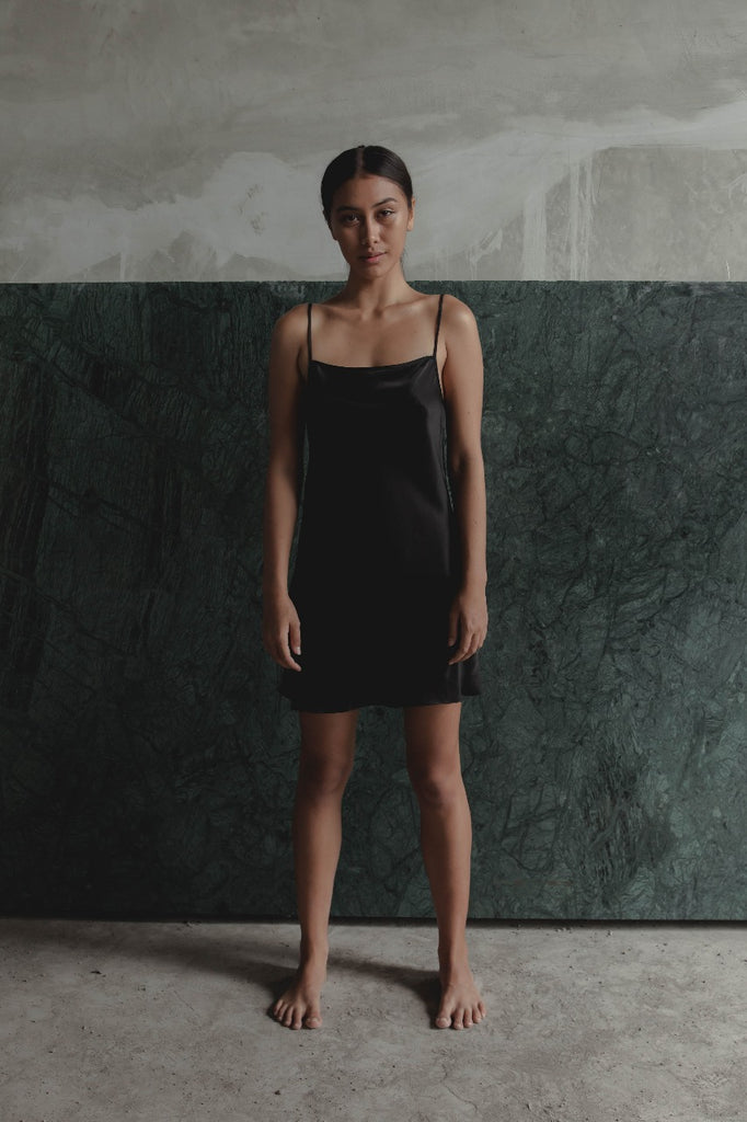 THE GERTRUDE MINI DRESS - BLACK