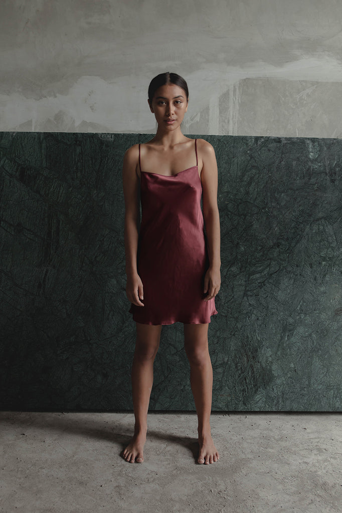 THE GERTRUDE MINI DRESS - RED WINE