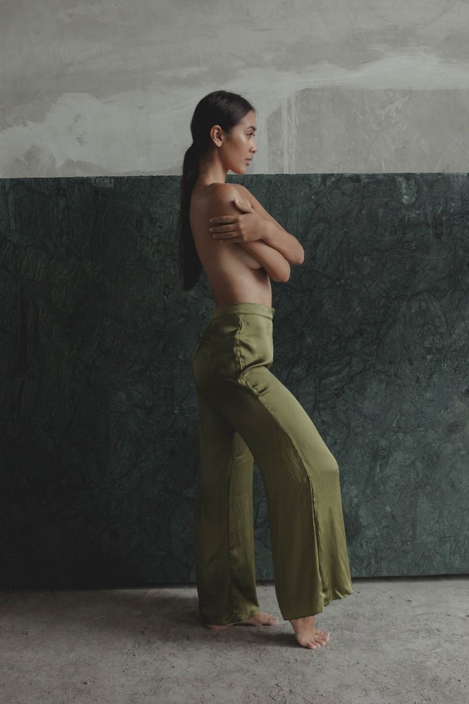 THE GERTRUDE WIDE LEG PANTS - OLIVE