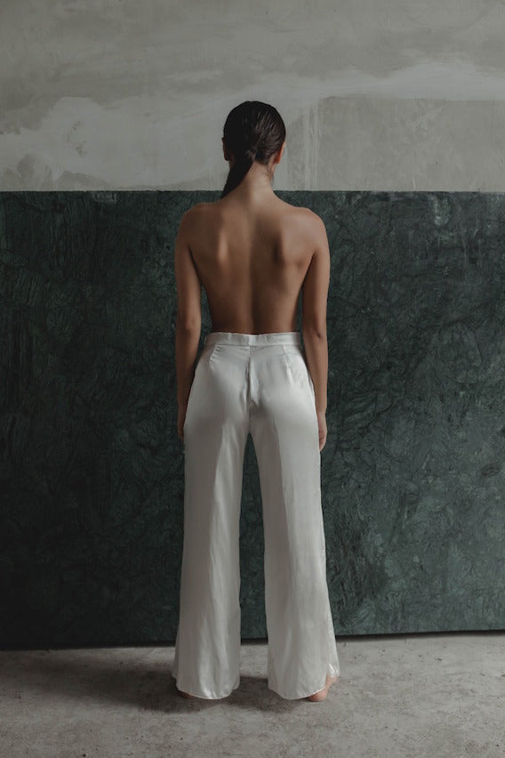 THE GERTRUDE WIDE LEG PANTS - WHITE