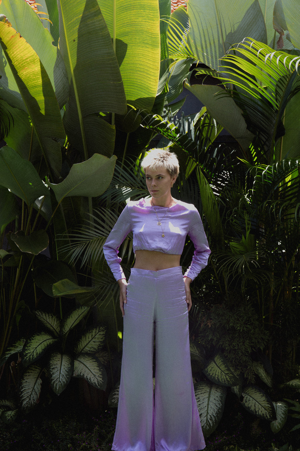 THE GERTRUDE WIDE LEG PANTS - LILAC