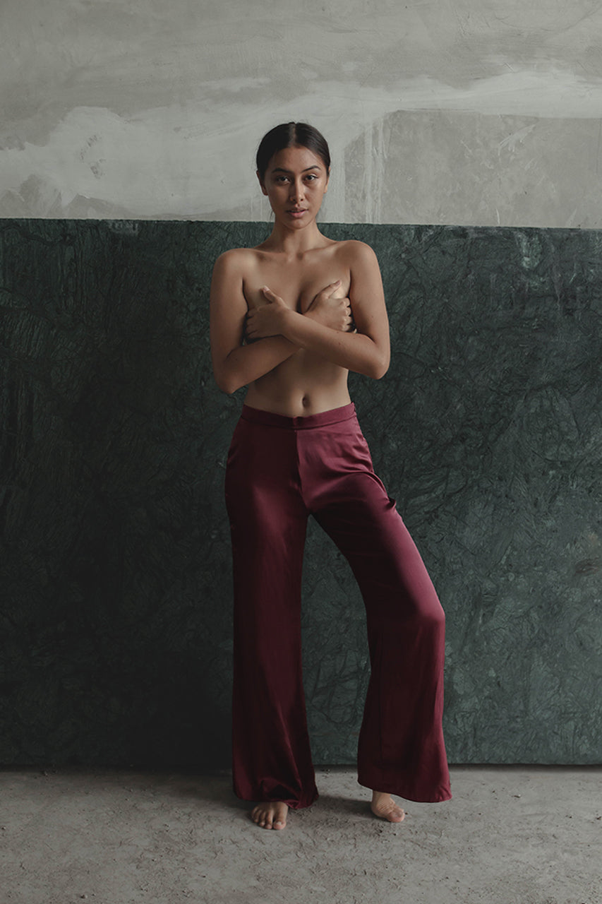 THE GERTRUDE WIDE LEG PANTS - RED WINE