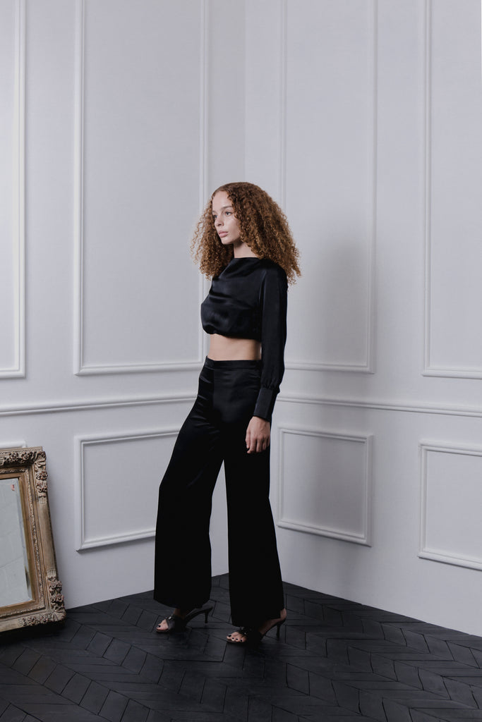 THE GERTRUDE WIDE LEG PANTS - BLACK