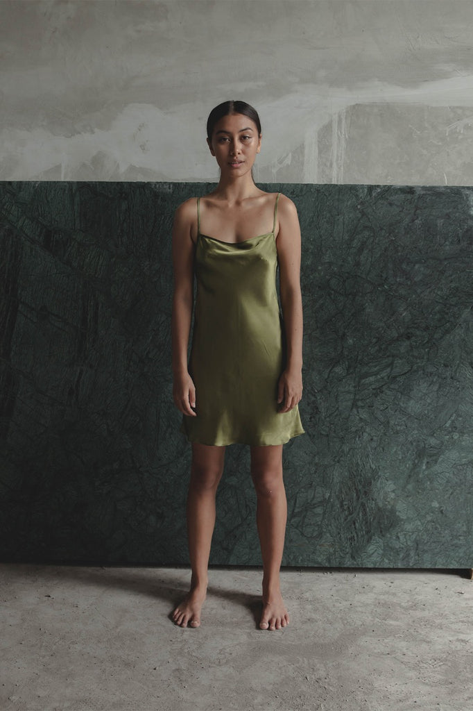 THE GERTRUDE MINI DRESS - OLIVE