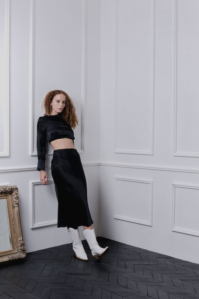 THE GERTRUDE MIDI SKIRT - BLACK