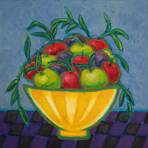 "ART IN THE TIME OF CORONA: APPLES AND PLUMS IN A BOWL (16""x16"") - Norlynne Coar Fine Art"