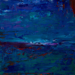 Barcelona 11, oil on canvas on panel, 6x6x1.5, abstract, blue, green, indigo, red, mauve