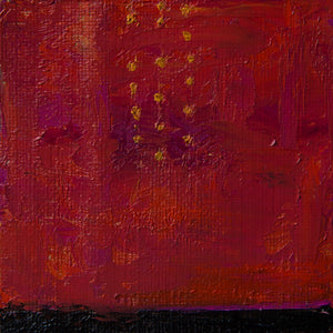 Barcelona 1, oil on canvas on cradled panel, 4x4x1.5; red, gold, black, abstract