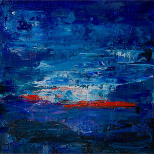 Barcelona 6, blue, indigo, aqua, red, oil on canvas on panel, abstract, white