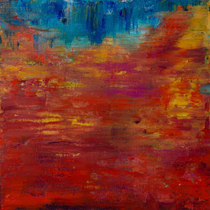 Barcelona 5, oil on canvas on panel, abstract, blue, aqua, red, orange, gold, mauve, texture